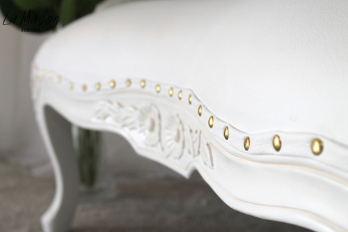 FLOWER CARVED OTTOMAN   White Leatherette