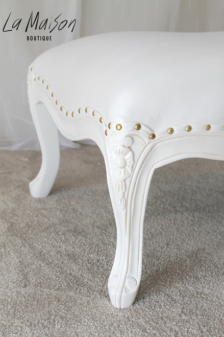 FLOWER CARVED OTTOMAN | White Leatherette