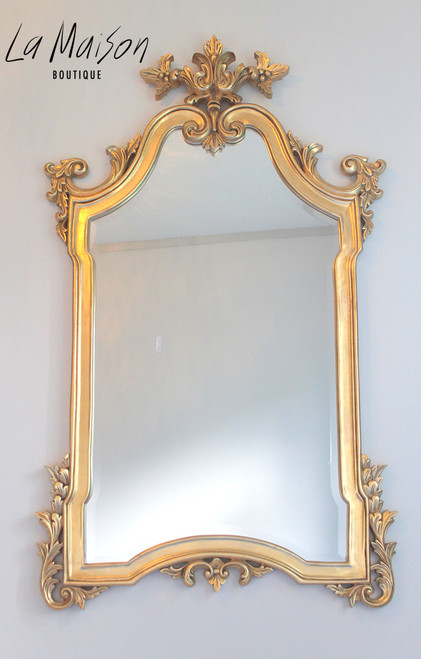 FLOWER TOP MIRROR | Antique Gold