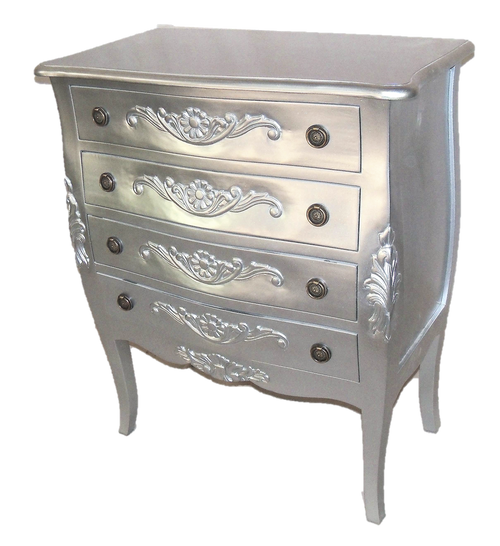 ANTOINE 4 DRAWER CHEST | Silver