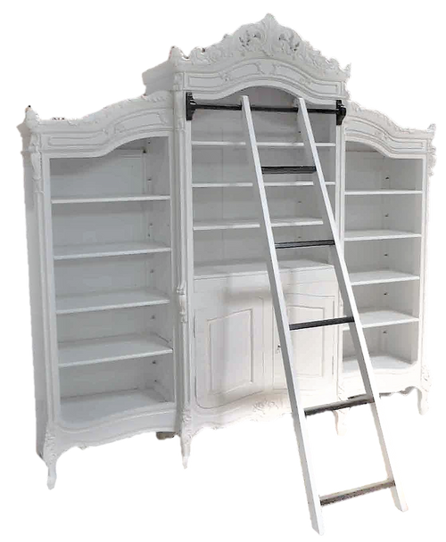 MONIQUE TRIPLE LIBRARY CABINET | Antique White
