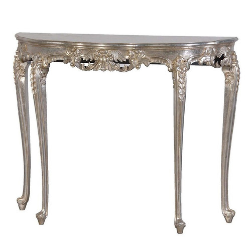FRENCH NOIR HALF MOON CONSOLE TABLE | Silver
