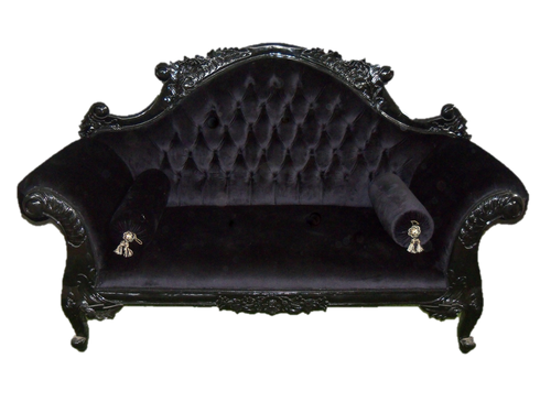 CENTER BACK FLOWER CARVED SOFA | Black