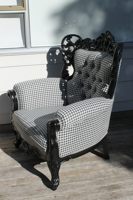 PRE ORDER: French carved Narissa armchair - Black