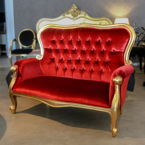SALLY 2-SEATER SOFA   Red & Gold