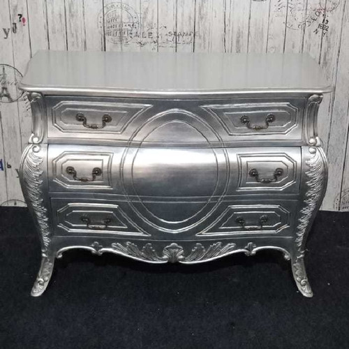 AUSTIN 3 DRAWER CARVED CHEST | Silver Leaf