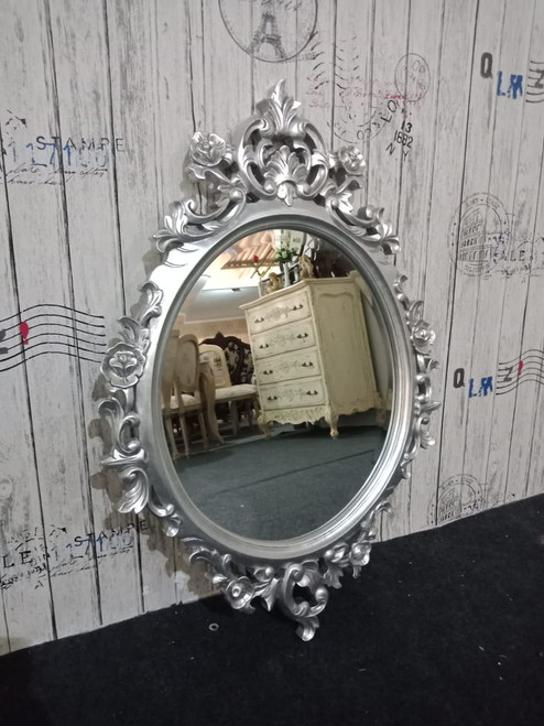 OVAL CARVED MIRROR | Silver