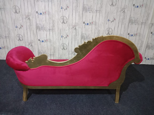 FLOWER CARVED CHAISE LONGUE | Gold & Red