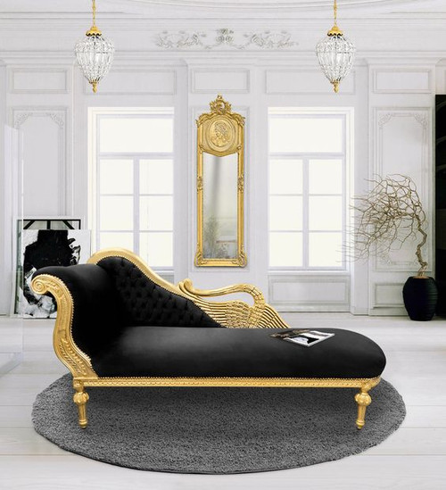 PRE ORDER: Swan Chaise Longue - Black & Gold (New)