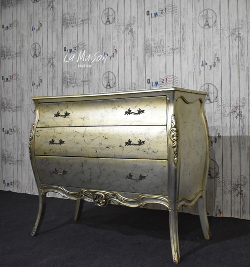 HARRIETTE 3 DRAWER COMMODE | Silver Leaf