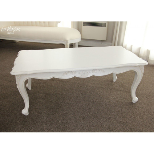 ARMADINE CARVED COFFEE TABLE | White