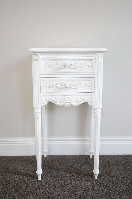 AMOURS 2 DRAWER BEDSIDE TABLE | Antique White