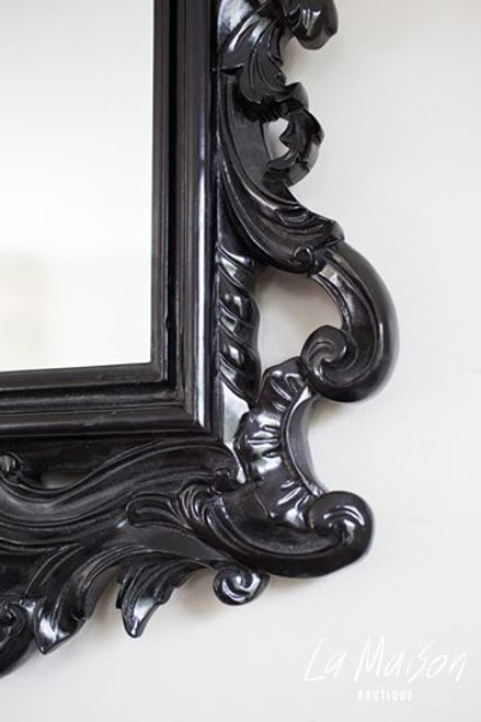 FRENCH ANTIQUE CARVED MIRROR | Black