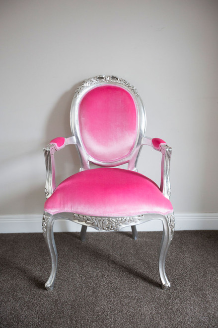 RIBBON ARMCHAIR | Pink & Silver
