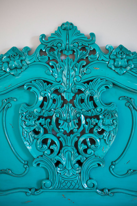French Carved Headboard | Turquoise | Queen
