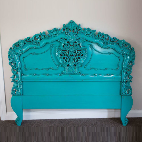 FRENCH CARVED HEADBOARD   Turquoise   Queen