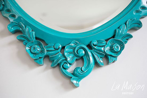 OVAL CARVED MIRROR | Turquoise