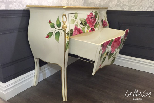 HAND PAINTED ROSE COMMODE