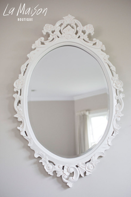 OVAL CARVED MIRROR | Antique White