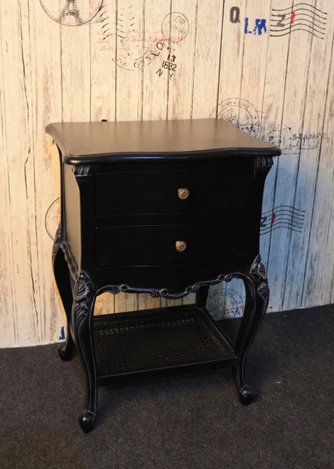 PROVENCAL 2 DRAWER RATTAN BEDSIDE | Black