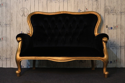 SALLY 2-SEATER SOFA | Black & Gold