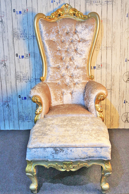QUEEN THRONE | Cream Crushed Velvet