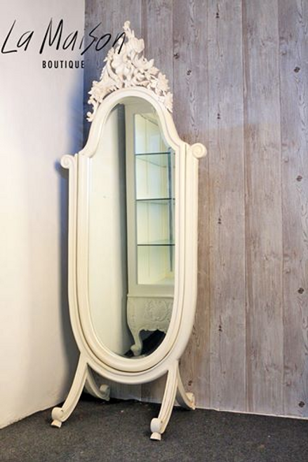 PROVENCAL FREE STANDING MIRROR WITH CREST