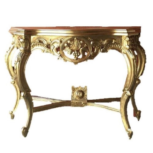 GRAPE CARVED CONSOLE TABLE   Gold