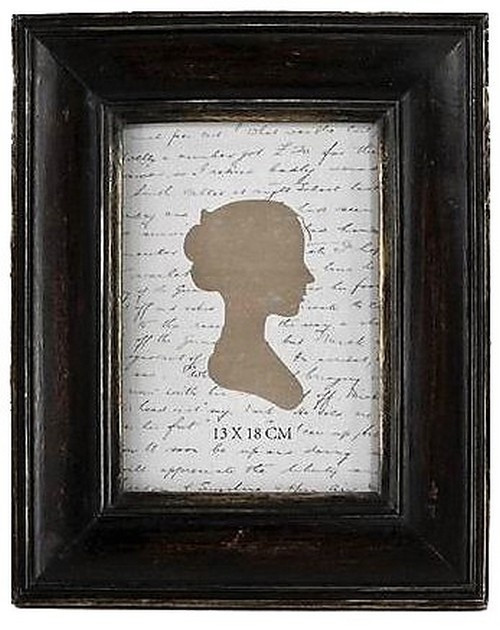 ANTIQUED BLACK/GOLD PHOTO FRAME MEDIUM