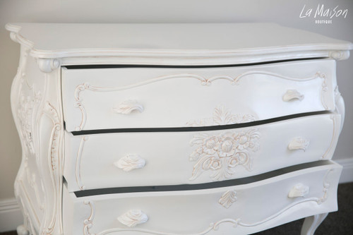 FRENCH FLEUR CHEST OF DRAWER | White