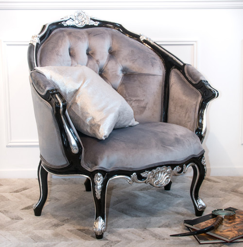 FRENCH CARVED SEAT | Black and Silver
