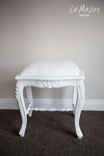 PROVENCAL TUFFET STOOL | Antique White