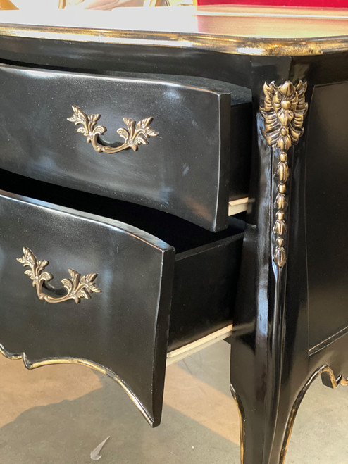 FRENCH SHABBY 2 DRAWER CHEST | Black with Gold
