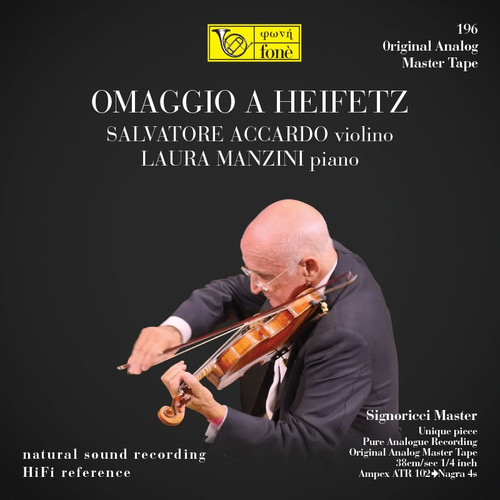 "Classical MASTER TAPE - Omaggio A Heifetz - Salvatore Accardo & Laura Manzini. Fonè Records, original cat.# Fonè 196, format 2x 1/4"" RTM SM900 Tape set, Metal reel 10,5""/265mm, NAB Hub, 38 cm/s (15 ips), IEC eq. More info on www.sepeaaudio.com"