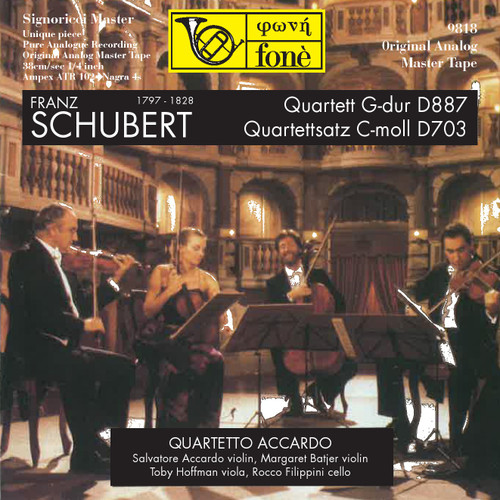 "Classical MASTER TAPE - Franz Schubert Quartett G-dur D887 - Quartettsatz C-moll D703. Fonè Records, original cat.# Fonè 9818, format 3x 1/4"" RTM SM900 Tape set, Metal reel 10,5""/265mm, NAB Hub, 38 cm/s (15 ips), IEC eq. More info on www.sepeaaudio.com"