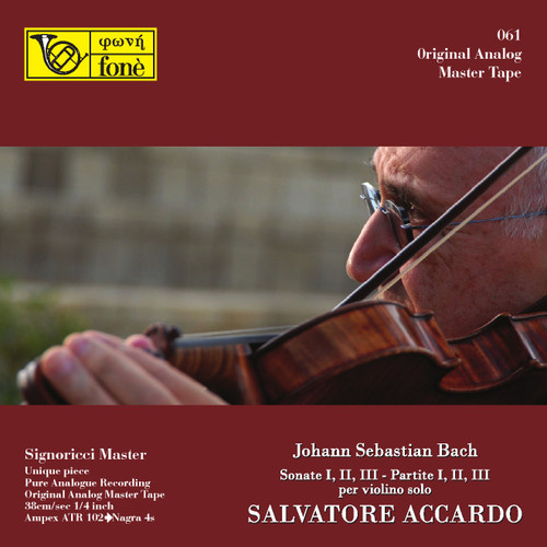 "Classical MASTER TAPE - Salvatore Accardo - J.S. Bach per Violino Solo. Fonè Records, original cat.# Fonè061, format 5x 1/4"" RTM SM900 Tape set, Metal reel 10,5""/265mm, NAB Hub, 38 cm/s (15 ips), IEC eq. More info on www.sepeaaudio.com"