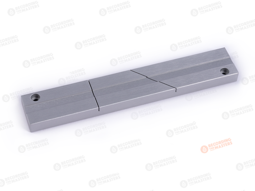 RTM R39800, 1/4inch Tape Splicing Block, silver aluminium. Find more on www.sepeaaudio.com