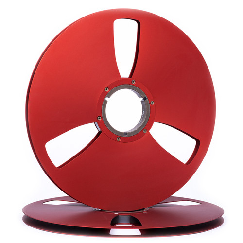 "SEPEA 1/2"" Metal Precision NAB Reel M1 14""/360mm red anodized - used. Find more on sepeaaudio.com"