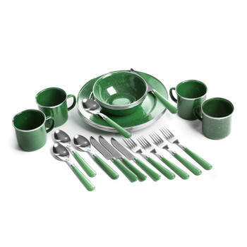 Deluxe 24-Piece Enamel Tableware Set - Green