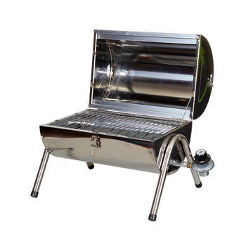 Opened, stainless steel, propane, BBQ grill measuring 21.25 in X 20.5 in X 18.5 in