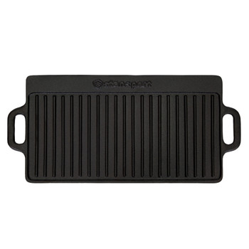 Ridged side of black, 19.75 inch by 9.25 inch rectangle, pre-seasoned cast iron griddle