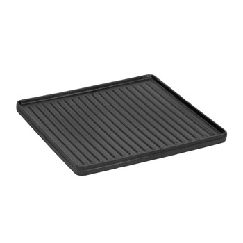 Smooth side of black, 15 inch square, pre-seasoned cast iron griddle