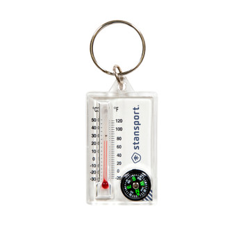 Zipper Pull Compass and Thermometer