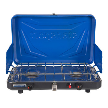 Opened, blue, 2 burner propane stove with drip pan and heavy duty pot rack