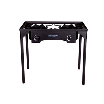 2 burner propane stove with cast iron burners and stand, measuring 30.75 in L x 15.34 in W x 28.5 in H