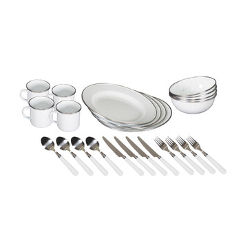 Deluxe 24-Piece Enamel Tableware Set - White