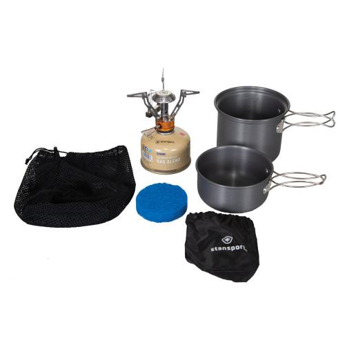 Isobutane cook set, with 1 stove burner, 1 0.9L pot, 0.65 pan, 1 scrub pad, and 1 drawstring storage bag.