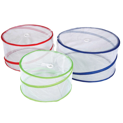 Three, cylindrical shape, mesh food covers, in blue (15.5 in X 8 in), red (13.5 in X 7.5 in), and green (11.75 in X 6 in).