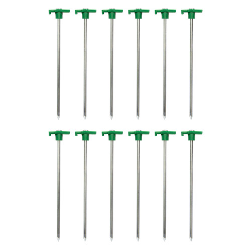 """10"""" Steel T-Top Tent Stakes - 12 Pack"""