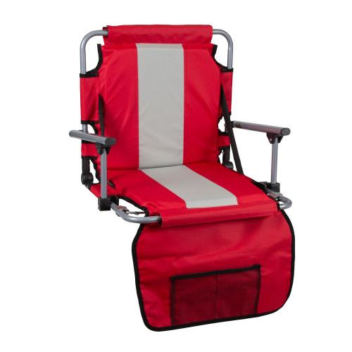 Tubular Frame Folding Stadium Seat with Arms - Red/Tan